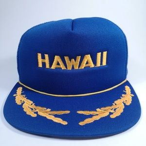 Hawaii Blue and Gold Mesh Back Trucker Hat